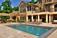 In ground pool in central PA, Goodall Pools & Spas. Camp Hill, Outdoor Spa, In Ground Pools, Beautiful Homes, Beach House, Swimming Pools, Places To Visit, Backyard, Mansions