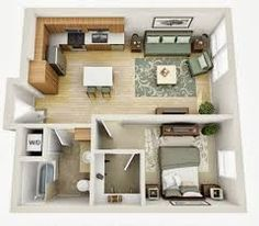 Departamentos peque os planos y dise o en 3d construye for 1br apartment design ideas