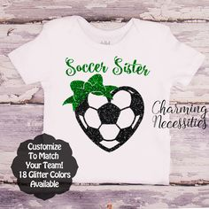 Soccer Sister Heart and Bow SS - Personalized Custom Colors Baby Toddler Girl Fan Top, Little Sister Shirt - Charming Necessities
