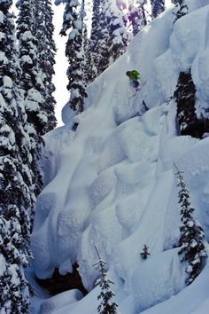 Tyler Ceccanti skiing a little pillow line with his Hellbents at CMH Heli Skiing. photo by Alex OBrien. K2 Skis Facebook photo of the day on 2/10/12