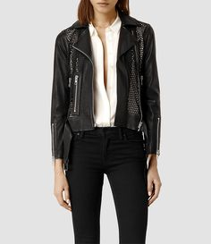 Women's Punched Leather Biker Jacket (Mortar) -