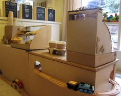 Cardboard DIY cafe - we're ready for our morning cup of coffee!