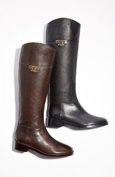 Fall fashion essential: A classic riding boot. Love this pair from Tory Burch because they are wide enough for larger calves and still go over jeans. They are the perfect height and go right up to the knee. Super soft leather that comes in brown and black.