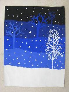 Третью часть, посередине, покрасьте тем чистым цветом, который выбрал ребенок, ни с чем его не смешивая. На предыдущем сегменте нарисуйте этой же краской контуры деревьев. Теперь смешайте основной цвет пополам с белой краской. Покрасьте четвертую часть листа. Нарисуйте на предыдущей дерево. А последнюю часть листа - нижнюю - оставьте белой либо покрасьте в белый цвет. И тоже не забудьте про дерево на предыдущем сегменте. Вот такой мастер-класс по градиенту для маленьких художников.