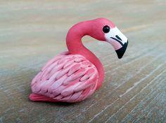 Tiny flamingo Handmade miniature polymer clay by AnimalitoClay, $20.00