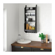 VADHOLMA wall shelf, black | IKEA Indonesia Ikea Wall Shelves, Kitchen Wall Shelves, Wall Storage, Kitchen Storage, Storage Racks, Glass Shelves, Dark Brown Cabinets, Plastic Shelves, American Kitchen