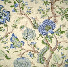 The House of Scalamandre Pondicherry Fabric (Set of Color: Blue/Green/Cream Wallpaper Size, Fabric Wallpaper, Wallpaper Roll, Wallpaper Patterns, Wallpaper Samples, Passementerie, Floral Fabric, Paisley Fabric, Blue Fabric