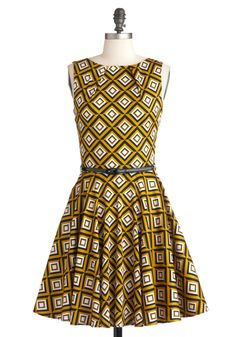 Luck Be a Lady Dress in Diamonds - Multi, Yellow, Black, White, Print, Party, Work, Sleeveless, Fall, Belted, Fit & Flare, Mid-length, 60s