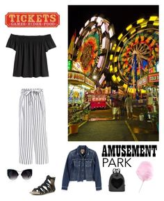 """Summer Night of FUN"" by kotnourka ❤ liked on Polyvore featuring Mark & Maddux, Paige Denim, amusementpark and 60secondstyle"
