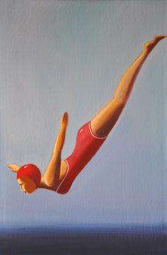 "Blue Contemporary #Artist: Mariel Polinotto ""Nogaro"" 23 x 15 in, Acrylic on canvas  #contemporary #art"