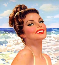 Lou Shabner was already an accomplished illustrator in his native England before becoming one of Brown and Bigelow's last pin-up painters. He often worked in gouache on board, which includes this example month from his 1952 monograph calendar. Vintage Prints, Vintage Art, Vintage Paintings, Vintage Yellow, Estilo Pin Up, Pulp Art, Pin Up Art, Vintage Girls, Retro Girls
