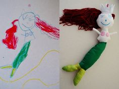 mermaid doll made from child's drawing.