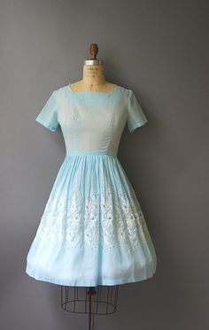 1950's Blue Eyelet Dress//Pale Blue Day by CapsuleVintage on Etsy 148.96