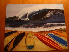 SURFING GIANT WAVE Blue & Red Surfboards on Beach Surfer Home Decor Sign NEW #Tropical