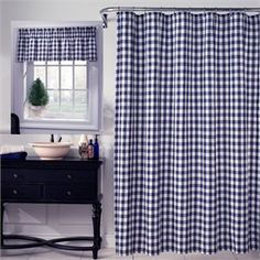 Classic Check Denim Blue Fabric Shower Curtain And Valance By M.Style