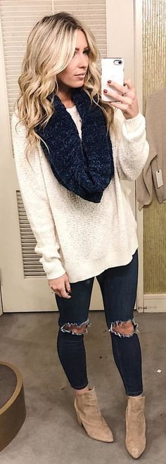 #winter #outfits white loose sweater with distressed blue denim jeans outfit