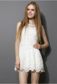 Crochet Mesh Chiffon White Dress