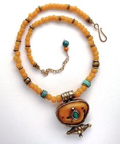 Tibetan amber and turquoise pendant on golden by AnnBrooksStudio, $96.00