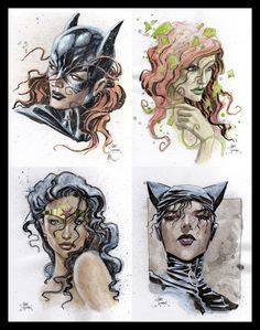 Batgirl, Poison Ivy, Wonder Woman and Catwoman- by Gary Shipman