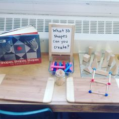 GEO - A new provocation to extend our learning about shapes! Did a great job creating a cube! 3d Shapes Activities, Teaching Shapes, Teaching Math, Preschool Activities, Steam Activities, Kindergarten Centers, Preschool Math, Math Classroom, 3d Shapes Kindergarten