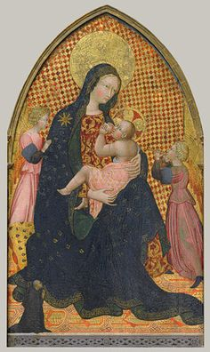 Madonna and Child with Two Angels and a Donor, ca. 1445 Giovanni di Paolo (Giovanni di Paolo di Grazia) (Italian, Sienese, 1398–1482) Tempera on wood, gold ground (partly checkered with modern red glazes) Dating from ca. 1445, this image was probably the center panel of an altarpiece paid for by the diminutive kneeling figure.