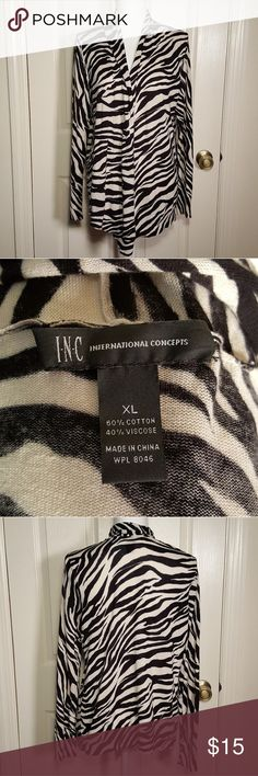 INC Zebra Print Open Front Cardigan INC International Concepts Zebra Print Open Front Cardigan Good Pre-loved condition; minor signs of wear.  Black and off-white. 60% Cotton, 40% Viscose Size XL INC International Concepts Sweaters Cardigans