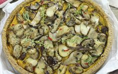 <p>This quiche has a crumbly pastry crust made from a blend of flour, buckwheat, and hemp seeds and a creamy pumpkin filling seasoned with rosemary and sage that's topped with sautéed Porcini mushrooms. </p>