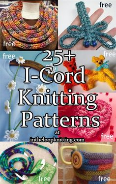 I-Cord Knitting Patterns. Most patterns are free. If you're looking for the mo. : I-Cord Knitting Patterns. Most patterns are free. If you're looking for the most portable, stash-busting, easy project, then I-cords are for you. Spool Knitting, Loom Knitting Projects, Loom Knitting Patterns, Knitting Stitches, Crochet Patterns, Knitting Machine, Stitch Patterns, Scarf Patterns, Knitting Tutorials