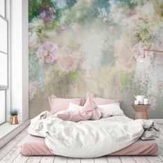 The large floral mural wallpaper is a real standout in this modern pastel bedroom - Unique Bedroom Ideas & Decor