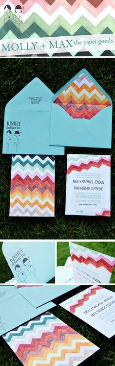 watercolor + chevron wedding invitations