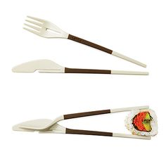 I need these now while living in China.   Two-in-One    Practice dining kung fu with these nimble, transforming utensils. This knife and fork set made from reusable, dishwasher-safe plastic comes with a handy rubberized grip and interlocks to become a pair of easy-to-use, spring-loaded chopsticks!
