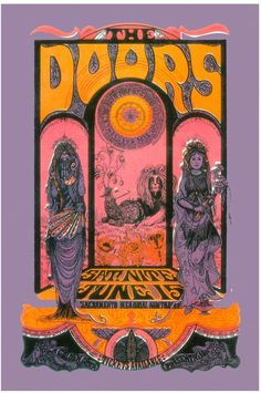 Anonymous - Psychedelic : The Doors at Sacramento Concert Poster 1970 - 2nd Print 1990