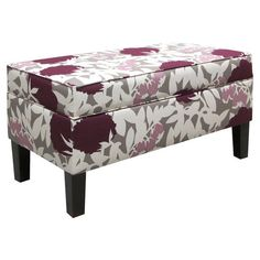 Foam-cushioned storage bench with a pine wood frame and floral-print upholstery. Handmade in the USA.      Product: Storage bench http://www.wayfair.com/Skyline-Furniture-Fabric-Storage-Ottoman-848_Peony_Plum-SKY4733.html