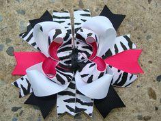 Shocking Pink White and Black Zebra Print Boutique Hair Bow Hair Clip. $8.00, via Etsy.