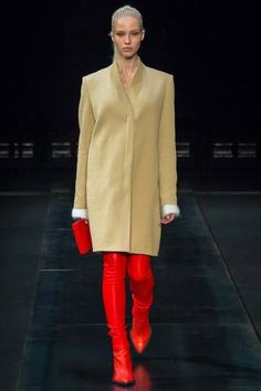 Yes, it's a little like ketchup on a hotdog but with a coat that sharp and leather leggings that strong, I'll bite.  Helmut Lang Fall 2014 Ready-to-Wear Collection Slideshow on Style.com