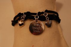 Live laugh love hearts black genuine braided leather by leonorafi