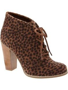 These would look cute with a pair of shorts in the spring or summer! Even jeans in the fall!!   Women's Faux-Animal Fur Ankle Boots | Old Navy