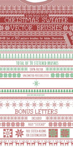 abd708920a634 Christmas Sweater Knit Brushes. Christmas Patterns.  14.00