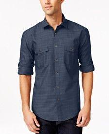 Mens Casual Button Down Shirts & Sports Shirts - Macy's Casual Shirts For Men, Casual Button Down Shirts, Men Casual, Men Online, Mens Fashion, Fashion Outfits, Mens Sale, Sports Shirts, Poplin