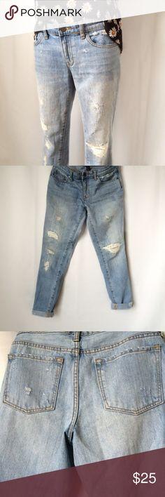 Gap Light Wash Distressed 1969 Boyfriend Jeans XUC: light normal wear; all distresses are original to jeans GAP Jeans Boyfriend