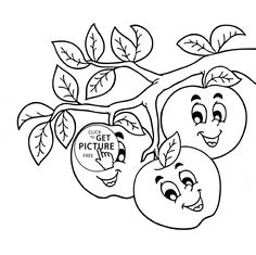 funny apples on branch coloring page for kids fruits coloring pages printables free wuppsy