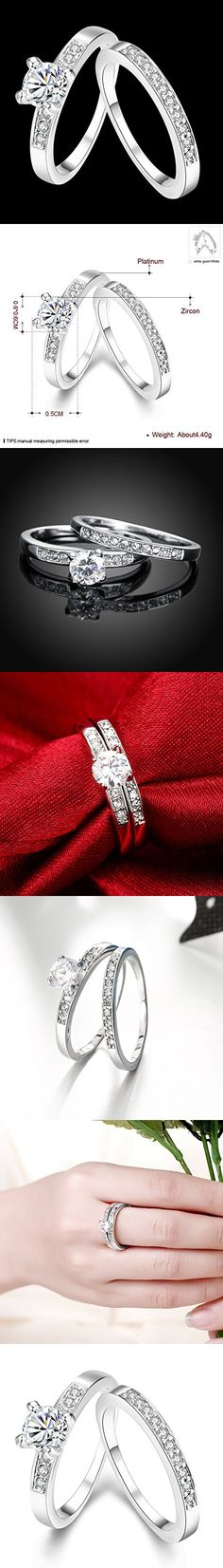 [Eternity Love] Women's Pretty 18K White Gold Plated Solitaire CZ Crystal Engagement Rings Set Best Promise Rings for Her Anniversary Wedding Bands TIVANI Collection Jewelry Rings