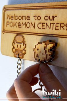 Laser cut and engraved Pokémon Center wall key by TwikiConcept
