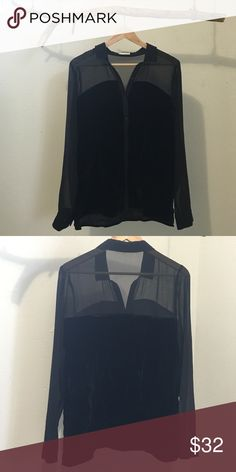 Hinge Black Sheer Velvet Blouse Size Small - In perfect condition  ~ I also sell vintage & recycled clothing ~ etsy.com/shop/voduncity ~ Hinge  Tops Blouses
