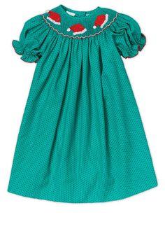 Hand Smocked Santa Hat Green Polkadots Girl's Bishop Dress