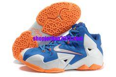 buy popular 31916 2c0fb Authentic Blue White Orange Nike Lebron XI For Wholesale