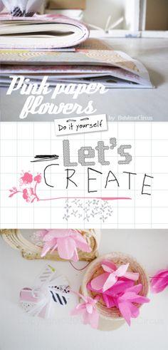 Bohème Circus: DIY - flowers garland, Cool Flower Crafts , Paper Crafts for Teens , paper, craft, flower,wrap, gift, decor,blumen,basteln,bastelvorlgae,tutorial diy, spring kids crafts, paper flowers