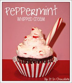 Peppermint Whipped Cream (or light frosting)  from dipitinchocolate.blogspot.com