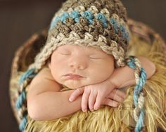 SALE Baby Boy Hat Newborn Crochet Hat in Barley Brown by EcoStreet, $27.00