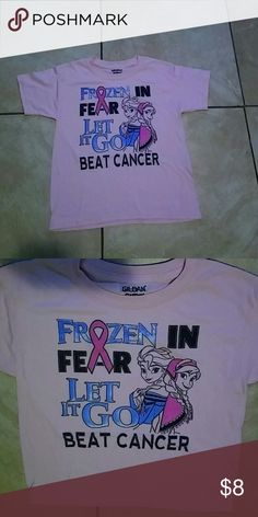 Frozen beat cancer kids tee Cancer logo with characters Elsa & Anna Gildan Shirts & Tops Tees - Short Sleeve
